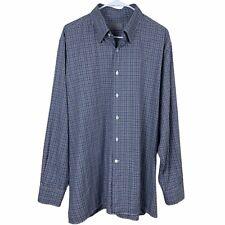 Canali 1934 Button Down Shirt Mens Size XXL Long Sleeve Blue & Brown Plaid 2XL