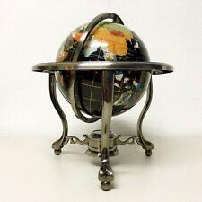 "A21 21"" World Globe Compass Silver Table Top Map Gem Inlay Black Onyx Ocean"