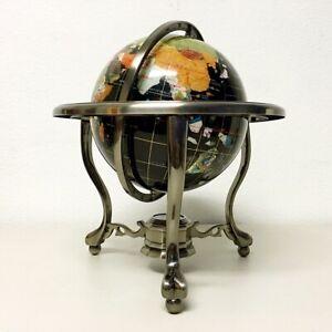 "14"" Black ocean Silver 3- leg table stand Gem MOP Gemstone World MAP globe"