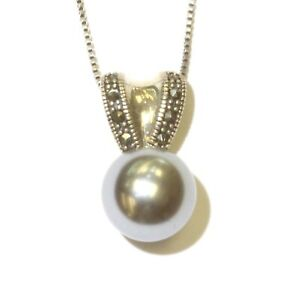 "925 Sterling Silver marcasite 12mm ball pendant necklace 6.6g 18"" unique"