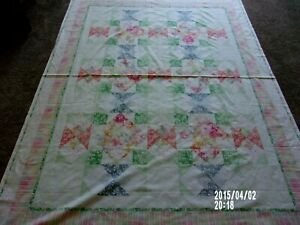 """cheater quilt fabric to sew pastels 58""""X78"""" new w/border"""