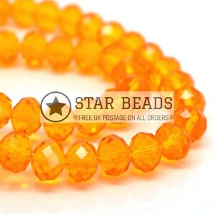 FACETED RONDELLE GLASS BEADS ORANGE - PICK SIZE & COLOUR