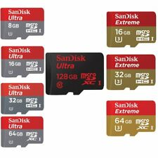 8/16/32/64/128GB SanDisk Ultra Extreme Micro SD SDHC/SDXC Karte CLASS 10 UHS-1