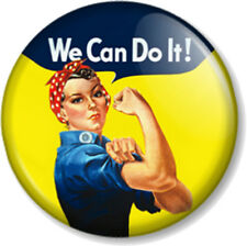"We Can Do It! 1"" Pin Button Badge Feminist Rosie The Riveter From WW2 War Poster"