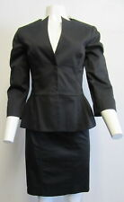 ALBERTA FERRETTI black cotton blend peplum skirt suit SZ 44/8