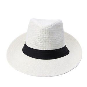 Panama Hat Paper Straw Women Men Cap With Black Ribbon