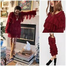 NWT FREE PEOPLE Bali Swing of Things Fringed Dress Tunic Red XS