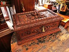 VICTORIAN CARVED LARGE BLACK FOREST BOX. JEWELLERY, ETC. ABSOLUTELY STUNNING