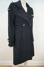 YVES SAINT LAURENT RIVE GAUCHE Black 100% Wool Gold Tone Button Winter Coat Sz:M