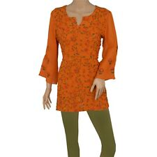 Tcw  Pre Owned Fabric Georgette Hand Embroidered Top Kurti Fashion Orange
