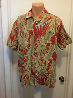 Island Republic mens l large Bird of Paradise Floral Silk Rayon Hawaiian shirt