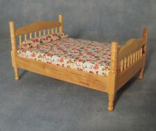 Pine Double Bed, Dolls House Miniatures, 1.12 Scale, Bedroom