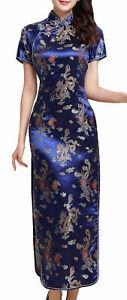 UK Stock Navy Blue Dragon & Phoenix Chinese Long Evening Party Dress Cheongsam