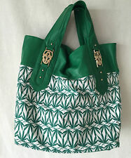 THOMAS WYLDE MARIHUANA LEAF CANVAS, GREEN LEATHER GOLD TONE SCULLS XL BAG. RARE