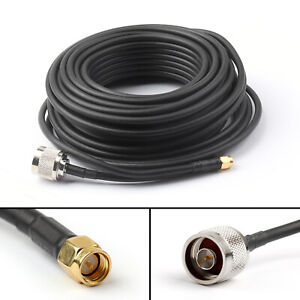 1x 15M SMA Male to N-Type Male Plug Pigtail RG58 Cable Wireless Router 49Ft BK
