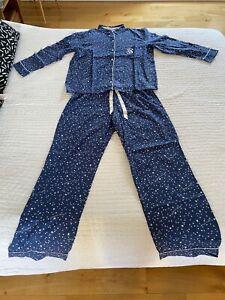 Victoria's Secret Brushed Cotton Pyjama Lounge Set Blue w/ Stars Small - Perfect