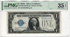 1928 C $1 SILVER CERTIFICATE NOTE FR.1603 GB BLOCK PMG CHOICE VERY FINE 35 EPQ
