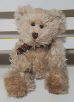 RUSS BERRIE RADCLIFFE SOFT PLUSH TEDDY BEAR APPROX 21CM TALL BROWN SPOTTY BOW!