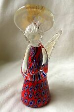 VINTAGE MURANO MILLEFIORI ARTGLASS CHRISTMAS ANGEL: Red, Blue ,Gold Halo &Wings