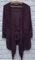 Per Una Size 14 Tie Front Waterfall Very Fine Knit Purple/Black Stripe Cardigan