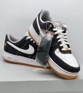 "Rare Nike Air Force 1 Low '07 "" Black Denim "" Size UK 9 Jordan / Dunk"