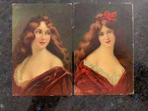 2x AK Postkarte Serie 1133 schöne Frau Jahrhundertwende