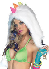 Furry Rainbow Dino Hood with Pom Poms Rave Hat Costume - SALE!! fnt