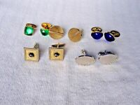 5 Pair Vintage Cuff Links - Two with Stones