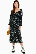 TOPSHOP Black & Yellow Floral Prairie Midi Dress UK6
