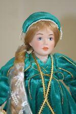 "Rapunzel porcelain doll Danbury Mint Storybook Collection 1987 green dress 11"""
