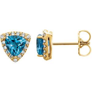 Genuine Swiss Blue Topaz & Diamond Earrings In 14K Yellow Gold