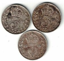 3 X GREAT BRITAIN 3 PENCE GEORGE V STERLING SILVER COINS 1911 1915 1917