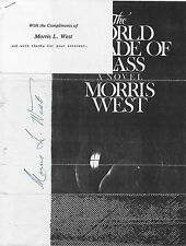 Morris West signed autograph on photocopy of WORLD IS MADE OF GLASS book jacket