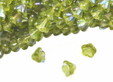 25 Olivine AB Bell Flower Czech Glass Beads 8MM