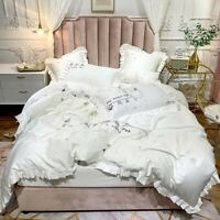Luxury  Egyptian Cotton Cat Embroidery Bedding Set Ruffle Cover Fitted Sheet