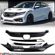 RS Turbo Carbon Look Front&Lower Grille Overlay for 16-18 Honda Civic 10th X FC