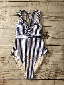 CUPSHE Swimsuit One Piece Women's Blue and White Striped Sz M~ V Neck Ruffled