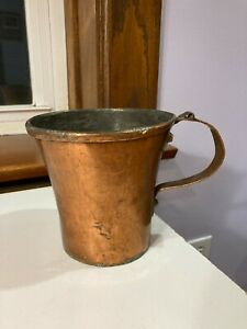 Copper Tankard Mug Folk Art Hand Made OLD Arts and Crafts Circa 1910s