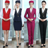 Women Formal V-Neck Waistcoat Airline Stewardess Uniform Slim Sleeveless Vest