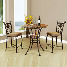 3Pc Brown Faux Marble Top Bronze Frame Fabric Cushion Counter Height Dining Set