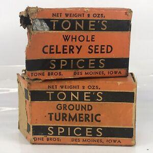 Tones Spices Box Lot Tumeric Celery Seed Vtg NOT TIN Tone Bros Des Moines