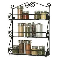 Spice Rack 3 Tier Countertop Kitchen Organizer Storage Wall Mount Holder Black