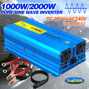 1000w 2000w pure sine wave power inverter DC 12v to AC 240v camping travel gift