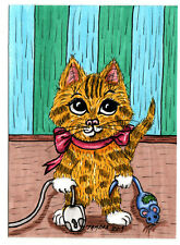 TAMBRA Toy & Computer Mouse Ginger CAT Cats ACEO Folk Art Original Painting