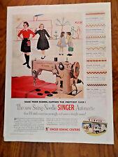 1955 Vintage Singer Sewing Machine Ad Swing-Needle