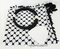 "51"" Black Arab Shemagh Head Scarf Neck Wrap Authentic Cotton Palestine Arafat"