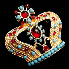 ROYAL Cross Top CROWN JEWELS Blue Accent & Red Rhinestone Retro Vintage Brooch