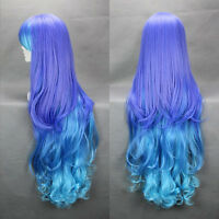 Womens Full Long Fancy Dress Wigs Cosplay Costume Wig Wavy Lolita Blue Hair Wig