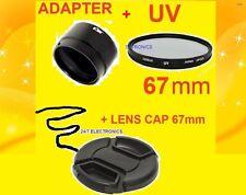 ADAPTER +UV FILTER+LENS CAP 67mm for CAMERA Nikon COOLPIX L310 L120 L320  67 mm