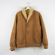 Vintage Tan Brown Leather Shearling Lined Jacket Size Mens Medium /R39050